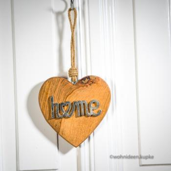 "Holz Herz ""home"" (14 cm)"